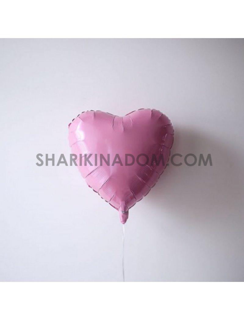 "Сердце розовое  45 см 18"""