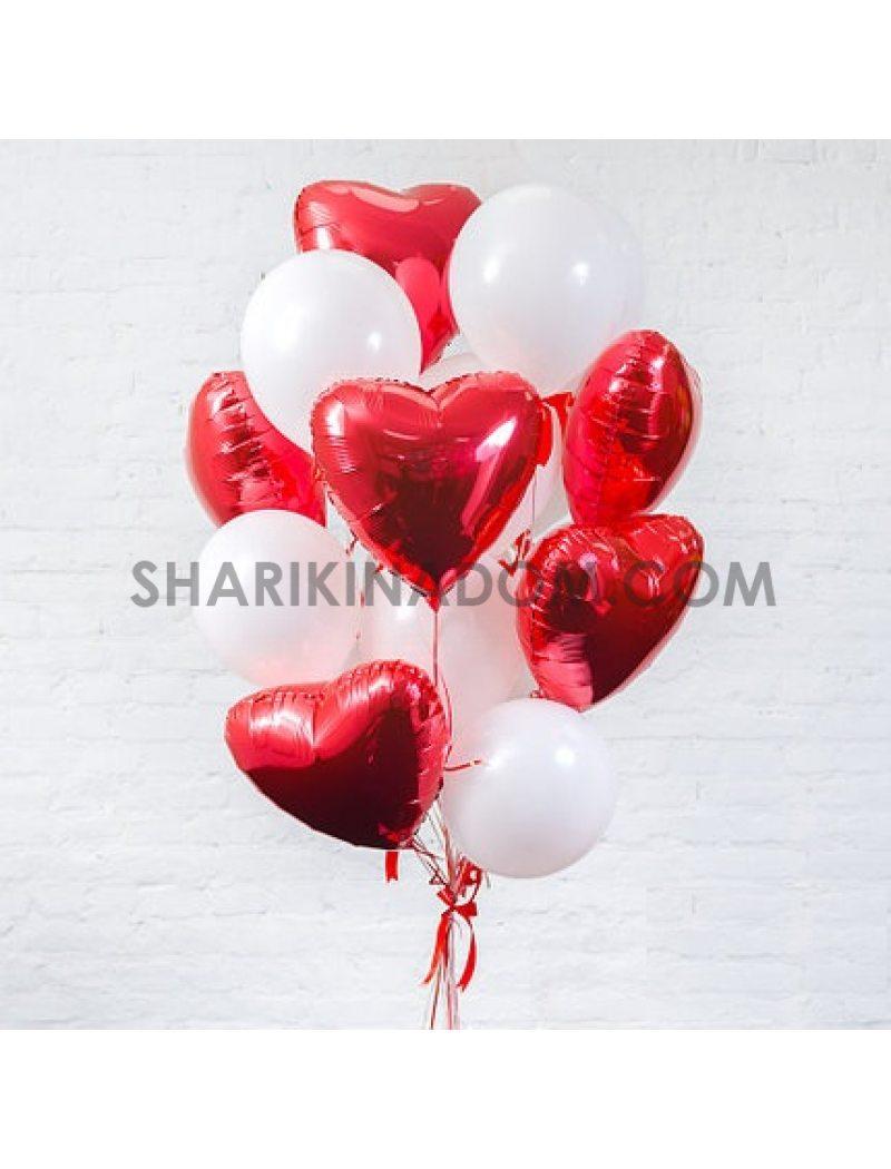 """Набор """"Сердца красные и белые пастель"""" - 15 шт"""