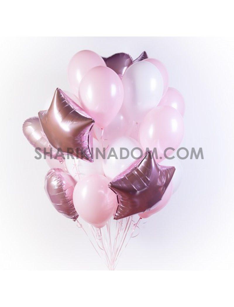 Розово-белые - 25 шт 30 см
