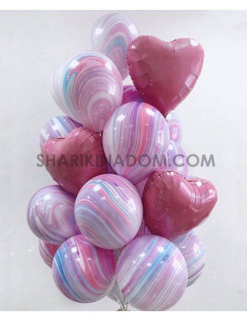 """Набор шаров """"Агаты и сердца"""" - 17 шт"""