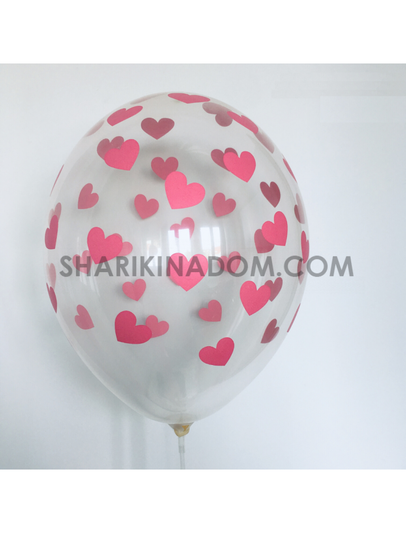 """Крсталл """"Сердца малиновые"""" - 33 см"""