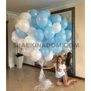 """""""Бело-голубые"""" 30 см - 100 шт"""