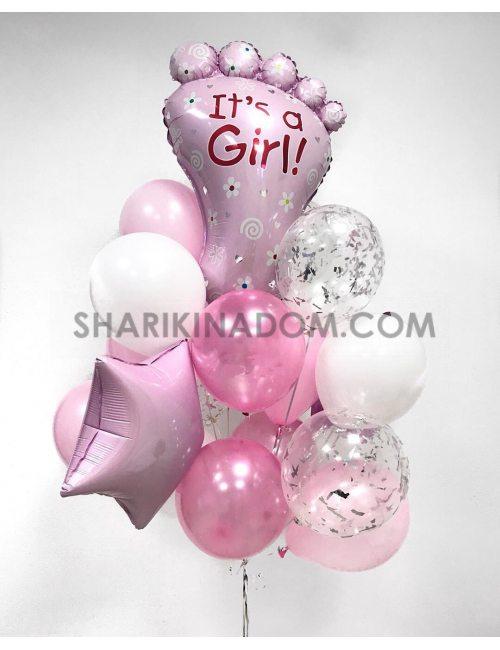 "шарики на выписку девочки ""For baby Girl"""