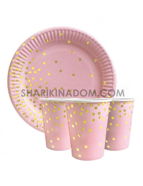 """Набір одноразового посуду """"Конфетті на рожевому"""" - 20шт."""