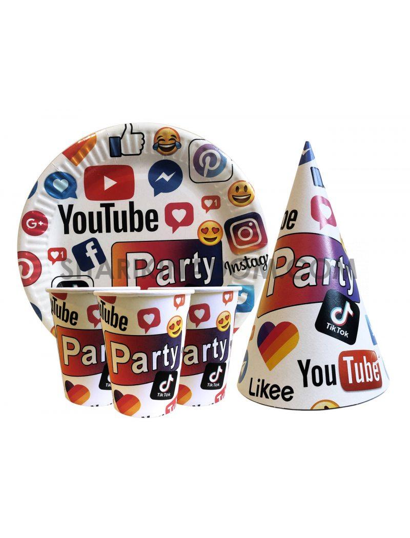 """Набір одноразового посуду  """"Соціальні мережі"""" - 30 шт."""